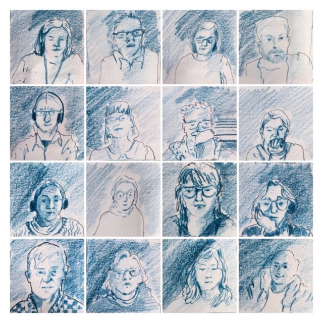 A grid of 16 small portraits of people joining a video conferencing session, drawn in blue pencil