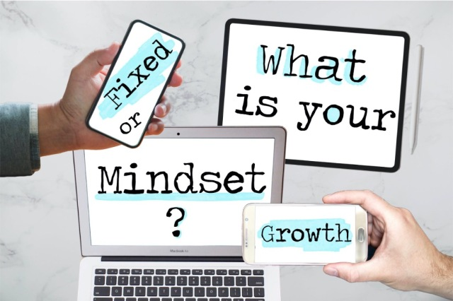 A variety of device screens displaying 'what is you mindset?' 'Fixed or growth?'