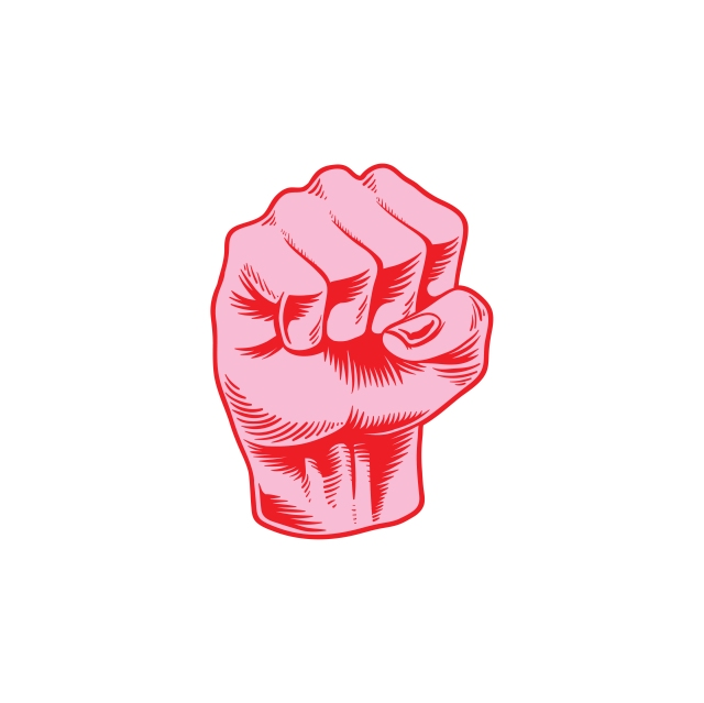 A pink and red illustrated image of a clenched fist.